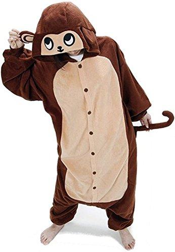 ABYED® Jumpsuit Tier Karton Fasching Halloween Kostüm Sleepsuit Cosplay Fleece-Overall Pyjama Schlafanzug Erwachsene Unisex Lounge,Erwachsene Größe XL -for Höhe 175-183CM Brown (Affen Anzug)