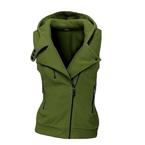 WanYang Donna Gilet Giubbotto Con Cappuccio Giacca Senza Maniche Giacca Cappotto Per Femminili Invernali Verde
