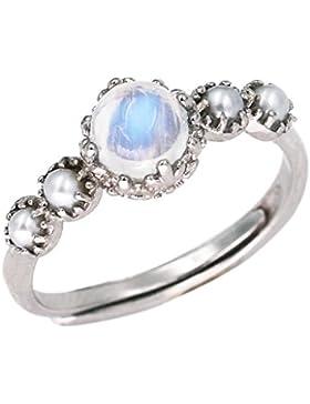 Luna Azure Edelstein Mondstein Sterling Silber Süßwasser Zuchtperlen verstellbarer Feiner Ring