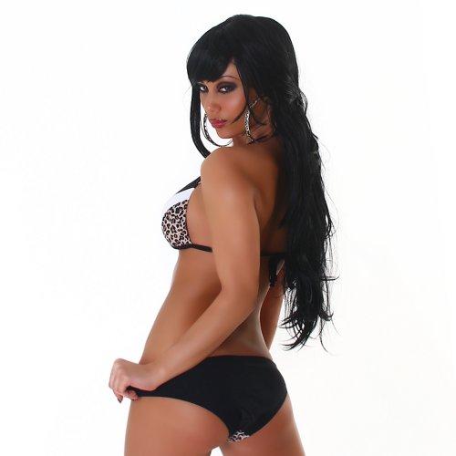 Edler Push Up Neckholde Bikini in Leo - Schwarz - Weiß Größen 34,36,38,40 Schwarz-Weiß-Leo