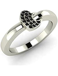 N Exeter 92.5 Sterling Silver Black Cubic Zirconia Diamond In 18Kt White Gold Plated Heart Shaped Ring For Women