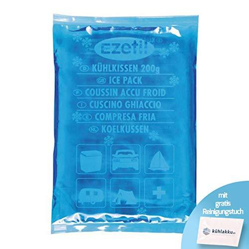 Kühlkissen 200g EZetil Soft Ice Flexibles Kühlkissen, 5h Kühlleistung! Gefüllt mit kälte- und wärmespeicherndem Gel! Geeignet zum Kühlen und Wärmen, blau - mit gratis Kühlkissen Reinigungstuch