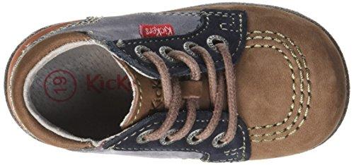 Kickers Babystan, Chaussures premiers pas bébé garçon Beige (Beige Foncé/Rouge Foncé)