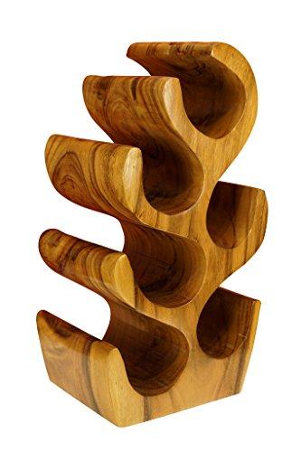 Kinaree Holz Weinregal für 6 Flaschen aus Akazie (Suar) Massivholz kolonial braun