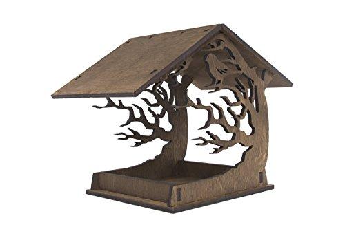 Hängender Vogel Futterhaus - Hölzerner Vogel Futterhaus - Gartendekoration - Brauner Vogel Futterhaus - Lasergeschnittenes Vogel Futterhaus - Einweihungsfeier Geschenk