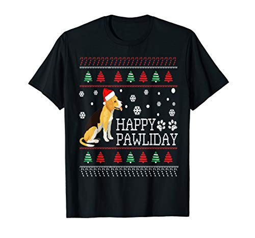 Lustiger Beagle Hund Santa Hut Hässliche Weihnachten T-Shirt