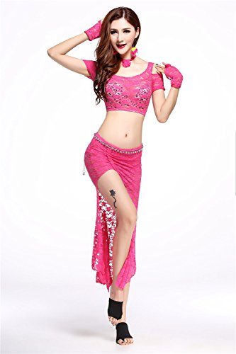 Dancewear Danza del ventre Custome Set Off Shoulders Pizzo Top & Exotic Splitl gonna Dark Pink