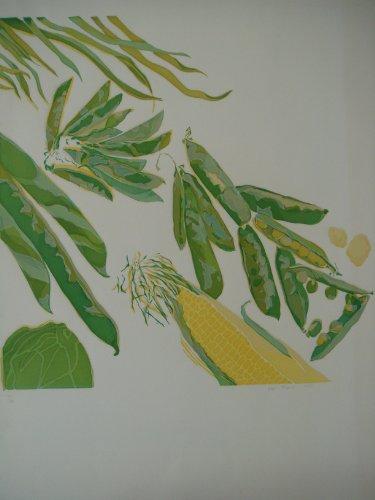 n signiert Print grün Vegtables von Ann Thomas 59cms von 77cms ()