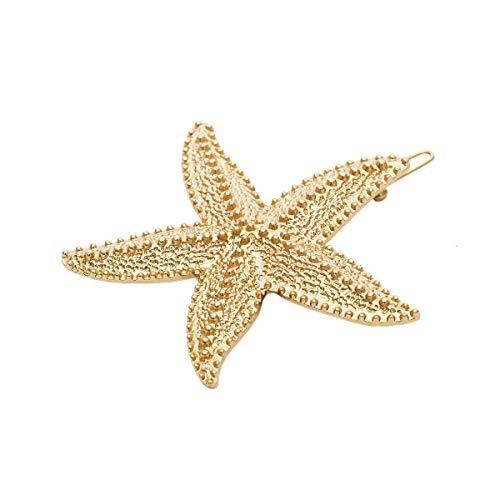 ACVIP Damen Geometrische Form Mond/Stern/Seestern Haarspangen Metall Haarnadeln Haar Clips(Seestern/Gold)