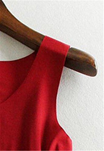 Aoliait Semplice Donne Camicetta V-Collo T-Shirt Donne Estivi Elegante Canotta Senza Maniche Camicetta Casual Comoda Tops Maglietta Red2
