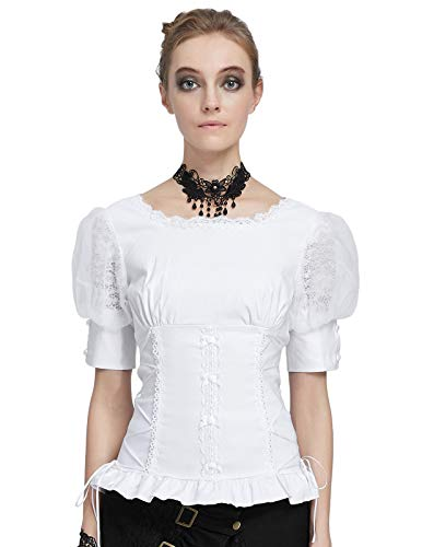 Belle Poque Damen Vintage Korsett Stil Spitze Renaissance Tops Weiß Größe L