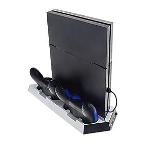 Smartfox Standfuß Ladestation Ladegerät für Sony Playstation 4 PS4 Controller Lüfter Kühler USB in weiss
