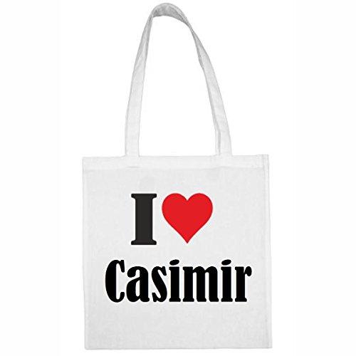 Reifen-Markt Tasche I Love Casimir Größe 38x42 Farbe Weiss Druck Schwarz