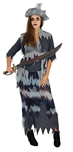 Foxxeo 40119 | Geister Piraten Kostüm Halloween mit Top, Rock, Jacke und Hut Piratin Geisterpiratin sexy Partykleid Gr. S - XXXL, Größe:XXXL