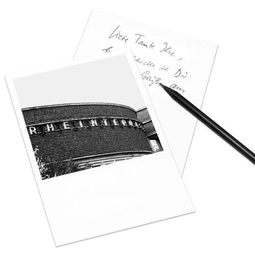 10er-Set Postkarte Düsseldorf im Polaroid-Look - DIN A6 Hochformat - Motiv: Rheinterrasse