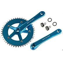 Juego de Plato y Bielas Color AZUL de Aluminio CNC MECANIZADO para Bicicleta Fixie o Singlespeed Urbana 1V 165 mm x 46 T 3742