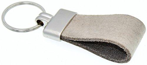 Schlüsselanhänger Original pelluca Italienisches Echtleder Handgemacht in Deutschland 10 Jahre Garantie (Leder: Grau, Verschluss: Matt Silber, Ring: Silber) (Grau Leder Männer)