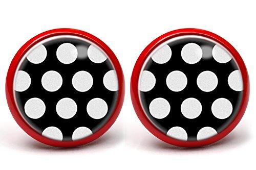 LA FABA Polka Dots Ohrstecker Polka Punkte weiß auf schwarz mit extra große Punkten, Ohrringe gepunktet, Ø 14 mm Durchmesser, Rockabilly Schmuck in Schmuckschachtel Etui (PP WaufS gr - rot)