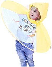 OSYARD Regenjacke Regenmantel,Junge M/ädchen Regenjacke Regenmantel Regenponcho mit Kapuze Wasserdicht Regencape,Kinder UFO Headwear Portable H/ände Frei PEVA Regenschirm,Leichte Faltbare Gr/ö/ße S-L