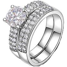 GYJUN 18K amarillo/blanco oro plateado cuatro puntas CZ anillos de boda para mujeres ,
