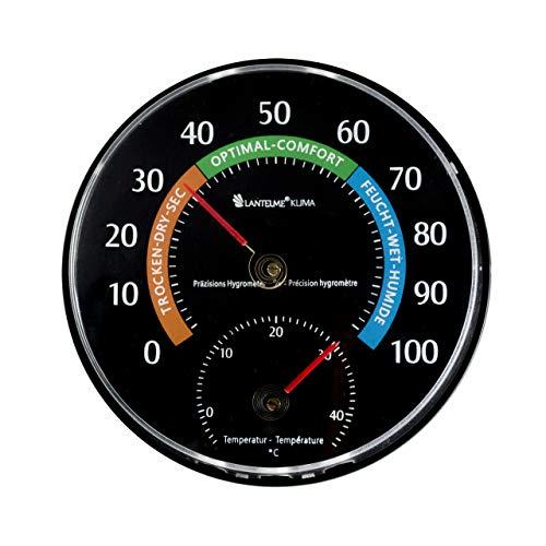 Lantelme Temperatur Luftfeuchtemesser Kombigerät Analog Thermometer Hygrometer Farbe Schwarz 7580