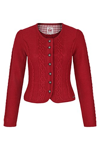 Damen Spieth & Wensky Damen Trachten Strickjacke mit Zopfmuster rot, rot, XXL