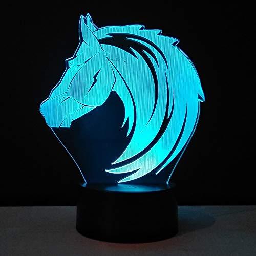 KAIYED Dekorative Tischlampe Baby Nachtlicht Pferdekopf 3D Led Tischlampe RGB Farben Urlaub Atmosphäre Kreative Acryl Handwerk
