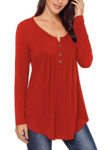 Top manica lunga da donna camicie invernali per le donne blusa scollo a v rosso xxl