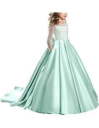Vestito Elegante da Ragazza Festa Cerimonia Matrimonio Damigella Donna  Sposa Comunione Battesimo Sera Carnevale Cocktail Ballerina 2f3a36203df