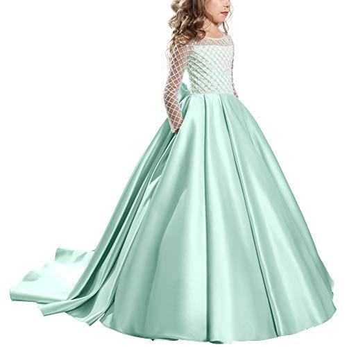 OBEEII Festliches Mädchen Kleid Prinzessin Blumenmädchen-Kleid Hochzeit Brautjungfern Festzug Kleider 8-9 Jahre