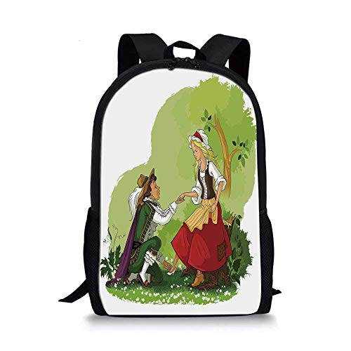 HOJJP Rucksack Nature Stylish School Bag,Summer Landscape with Grass Road Clouds Rural Novelty View Image Home Decor for Boys,11''L x 5''W x 17''H -