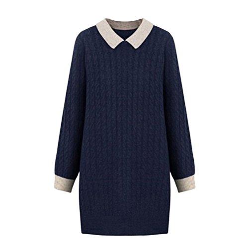 Ou Griglia da donna Plus Size contrasto colore Turn-Giù il collare pullover maglione Dark Blue XXXXX-Large