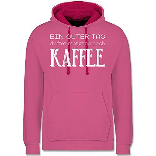 Küche - Ein guter Tag duftet morgens nach Kaffee - Kontrast Hoodie Rosa/Fuchsia