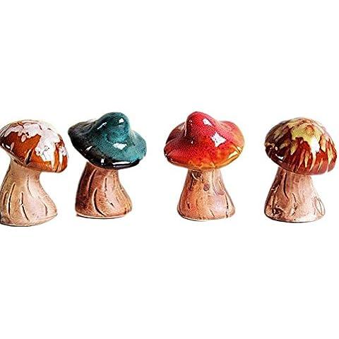 GYN Micro-paisajes cerámica seta adornos casa decoración manualidades regalos (un conjunto de cuatro)