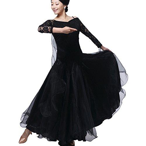 Kostüm Tanz Black Unitard Lace - Ballroom Dance Kleider für Frauen Professionel Tanzkostüme üben Lace Sleeves Rückenfrei Modern Walzer Tango Tanzende Kleidung, Black, XXL