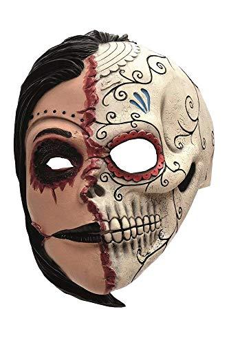 shoperama Latex-Maske 2 Gesichter Zombie Frau Dia de los Muertos Skelett Totenkopf Halloween Horror