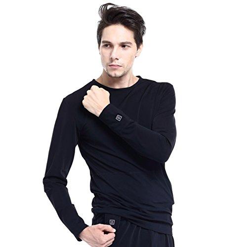 Glovii - Chauffé par la Batterie Intégré Thermoactive Chauffé Sweatshirt Thermique Chemise, Manches Longues T-shirt Vêtements Techniques (XL)