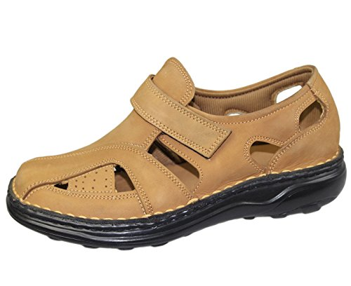 Hommes Velcro Sandales Marcher Mode Casual Summer Beach Slipper Chaussures en cuir Camel