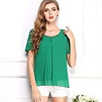 Y&D Women's Round Neck Short Sleeve Chiffon Top Solid Color Hollow Out Blouse Green Color