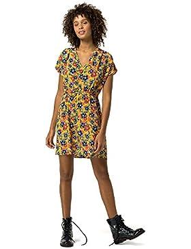 HILFIGER DENIM Kurzarm Kleid V-Ausschnitt Allover Druck Multicolor