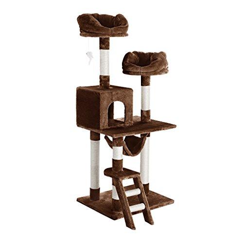 *Finether Katzenbaum Kratzbaum Katzenkratzbaum Kletterbaum mit Liegeplatz Höhle Kratzwelle und Kratzstämme | Sisal und Plüsch Verkleidung design groß stabil 148 cm hoch | Katzenmöbel chwere Katzen*