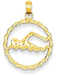 14ct Yellow Gold Polished Textured back Swimming Charm