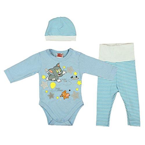 Jungen Baby-Set 3-teilig Tom und Jerry in GRÖSSE 56, 62, 68, 74, 80 blau, Baby-Schlafanzug mit Druck-Knöpfen, Spiel-Anzug mit Baby-Body, langer hose und Mützchen, Geschenk für Neugeborene Size 74 (Geschenke T-shirt Dunklen)