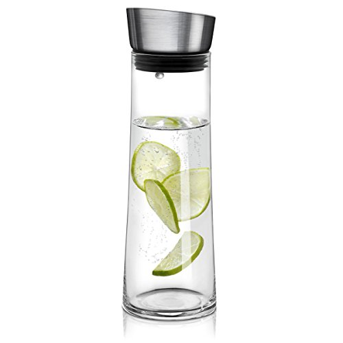 Navaris Glaskaraffe aus Borosilikatglas 0,8L Glaskrug - Wasser Karaffe mit Deckel - Glasbehälter Wasserkaraffe Wasserflasche - Tee Krug Ausgießer