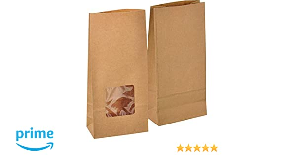 Paper Bags in White Brown Windowed /& Kraft for Kids Party Lunch Sandwich Sweet.
