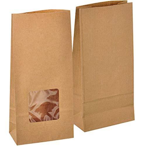 50 Stk. Papiertüten klein mit Fenster 12 x 25 x 6 cm Praktische Bodenbeutel Obstbeutel Mitgebseltüten Butterbrottüten Süßigkeiten Geschenkverpackung Gastgeschenke Tüten aus Braun Kraft Geschenkpapier