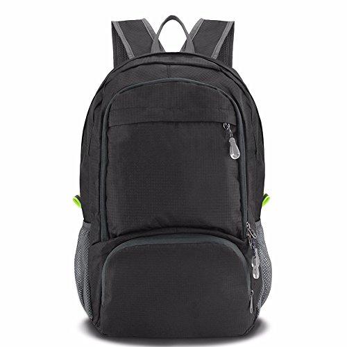SueH Design 30L Wasserabweisender Daypack, Leichter Rucksack für Outdoor, Faltbar, Schwarz (Mittel-gepäck-tags Zwei)