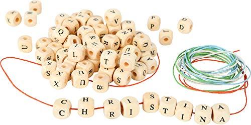 small foot 7553 Fädelspiel / Schmuck Bastel-Set, 300 Buchstaben-Perlen aus Holz mit Bändern zum Fädeln, ab 3 Jahren