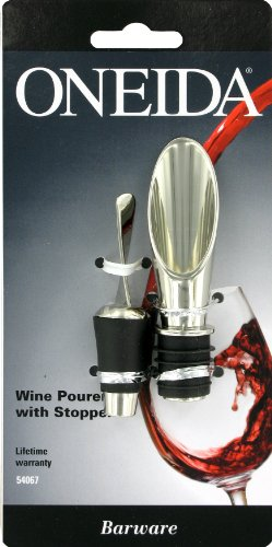 Oneida Wine Pourer with Stopper, Polished Nickel Plate Zinc Alloy