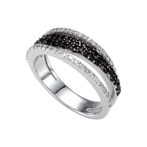 Ring Sterling-Silber 925 schwarzer Spinell Diamant